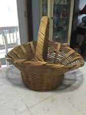 Vintage Natural Wicker Rattan Woven Flared Oval Basket with Handle