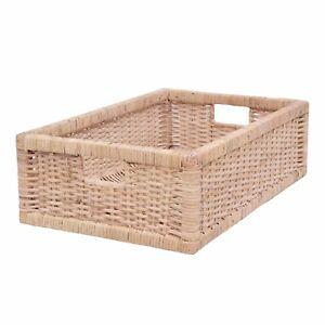 Rattan Storage Basket, Long Shelf Storage, Drawer Basket - Natural Blonde