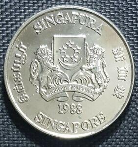 "1988 SINGAPORE $10 Dollar ""YEAR OF DRAGON"" Zodiac Coin Ø40mm (+FREE1 coin)#12430"