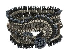Zest Beaded Metal Cuff Bracelet with Black Crystals & Ball Fastening Blue Shade