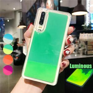 For iPhone 12 Huawei P30Lite Dynamic Quicksand Liquid Luminous Hybrid Case Cover