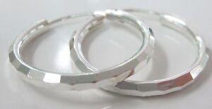 REAL 925 sterling silver BIG 20mm DIAMOND CUT Sleeper Hoop Earrings - GIRL WOMEN