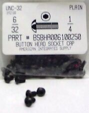 #6-32x1/4 Button Head Hex Socket Cap Screws Alloy Steel Black (45)