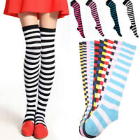 Women Girl Stripe Stripy Striped Over The Knee Thigh High Stockings Long Socks