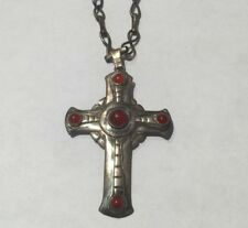 OLD ARTS & CRAFTS STERLING SILVER CARNELIAN PRIEST'S CROSS PENDANT/PIN ON CHAIN
