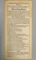 Very Old ad Paper 1825 Flyer advertising stock list Antique handbill store 1800s