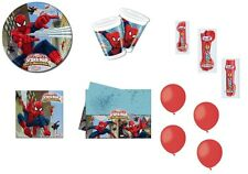 KIT COMPLEANNO N.18 SPIDERMAN WEB WARRIORS + FORCHETTE CUCCHIAI COLTELLI  ROSSI