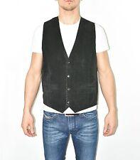 Vintage Black Leather Textile Popper Biker Gilet West Men's Waistcoat Size L