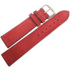 20mm Mens Fluco Red Suede Leather Made in Germany Watch Band Strap