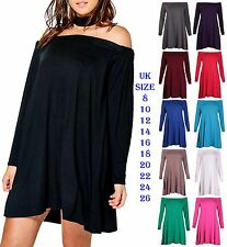 Womens Off Shoulder Swing Dress Ladies Flared Bardot Beach Bikini Cover Dresses