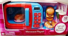 ELECTRONIC 18 PC MICROWAVE OVEN PLAYSET,W/ ROTATING PLATE,TIMER,FOOD,& UTENSILS
