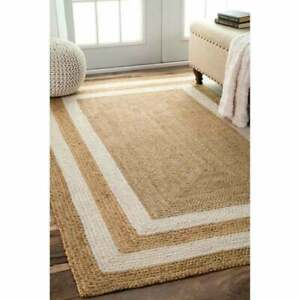 Jute Rug Carpet 100% Natural Jute Style Reversible Braided Modern Rustic Look