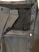 Lauren Ralph Lauren 34 x 30 Gray Micro Houndstooth Flat Front Dress Pants