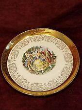 """22K Crest O Gold Vintage Sabin 9"""" Cabinet Plate Colonial VG"""
