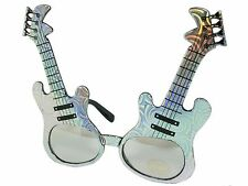 Electric Guitar Frame Rock Star Novelty Sunglasses Party Glasses Silver