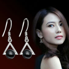 Jewellery 925 Sterling Silver Triangle Black Agate Dangle Earrings Holiday Gifts