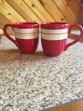 2 Red Coffee Cups with colorful stripes Hand Painted