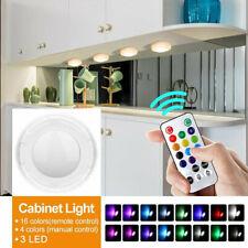 4 × luces RGB LED Regulable debajo del Gabinete Cocina Armario Dormitorio Kit de Luz de noche