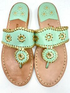 Jack Rogers Nantucket Gold Mint Green /Gold Sandals Shoes Size 6 Store Sample
