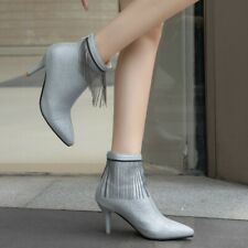 Womens High Heel Tassel Sequins Boots Shiny Fashion Prom Party Sexy Lady Shoes