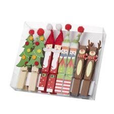 CHRISTMAS WOODEN PEG SET REINDEER SANTA TREE ELVES DECORATIONS