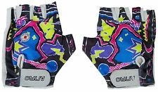 ANRO Cycle Fitness Gloves Sz Medium Padded Leather Palms Lycra Back Multicolour