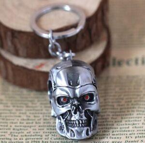 "The Terminator Skull Head Keychain 2"" Silver Arnold Schwarzenegger US Seller"