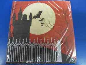 Frightful Night Haunted House Vampire Bat Halloween Party Luncheon Napkins