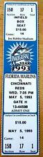 Florida Marlins Ticket Stub From May 5,1993 vs Cincinnati Reds Inaugural