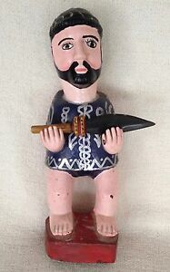 Vintage MEXICAN, HISPANIC, WOODEN HAND-CARVED SCULPTURE OF Hernán Cortés w/Spear