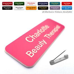 PIN Custom Engraved Name Badge Beauty Therapist Salon Hairdresser Stylist Work