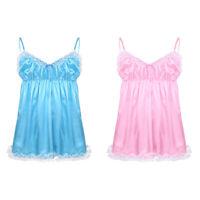 Sissy Mens Lingerie Nightwear Lace Smooth Crossdress Fancy Dress Satin Underwear
