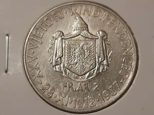 Albania Coin 1 Frang Ar 1937 Silver Used In Good Condition