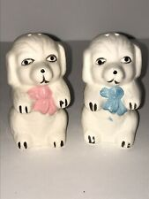 Vintage White Dogs Salt And Pepper Shakers