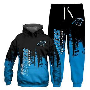 Carolina Panthers Tracksuit Set 2PCS Hooded Jacket Coat Jogger Pants Sweatsuit
