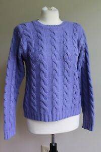 Vtg Brooks Brothers M Purple 100% Wool Cable Knit Pullover Sweater