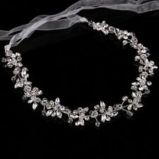 Boda Nupcial Cinta Flor Diamante Cristal De Diadema Tiara Accesorio Para El Cabello