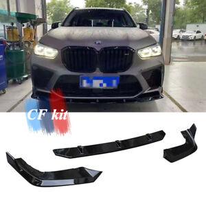 Bright Black 3pcs ABS Front Bumper Lip Chin Spoiler For BMW X5M F95 2020-2021