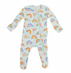 ANGEL DEAR INFANT AQUA RAINBOW RUFFLED ZIPPER FOOTIE SIZE: 12-18M  NWT