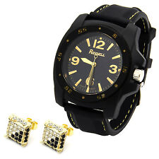 Mens Black/Gold Fashion Silicone Quartz Wrist Watch ON2 & Micro Pave Earrings