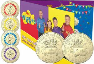 Australia 2021 30th Anniv The Wiggles 6 Coin Folder Set 4x  Coloured $2, 2x $1
