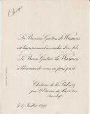 § FAIRE-PART NAISSANCE OLIVIER DE WISMES - Saint-Étienne-de-Montluc, 1891 §