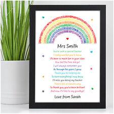 Personalised Rainbow Teacher Thank You Gifts Nursery TA School Leaving Poem Gift
