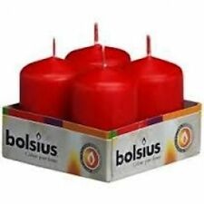 PACK OF 4 BOLSIUS RED 60MM x 40MM PILLAR CANDLES - IDEAL 4 WEDDING/PARTY XMAS