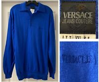 Versace Jeans Couture Mens XL/XXL Blue Button Front Collared Sweater Embroidered