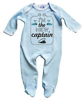 Dirty Fingers Baby Boy Sleepsuit Gift I'm the New Captain Boat Sailor Whales