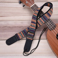 Adjustable Boho Cotton Strap Leather Ends for Electric Acoustic Guitar Bass Webb