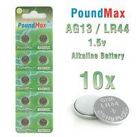 10 X SUPER AG13 LR44 SR44 L1154 A76 1.5V PoundMax ALKALINE BUTTON BATTERIES
