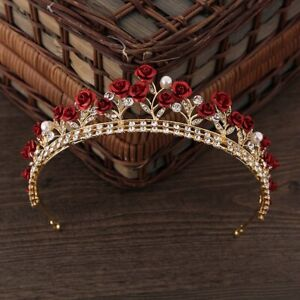 Rose Crystal Bridal Tiara Wedding Princess Crown Wedding Diadem Princess Vintage