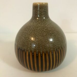 """Pier 1 Imports Thailand 4"""" Brown and Gold Shiny Ceramic Bud Vase"""
